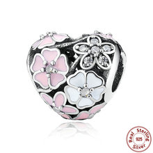 925 Silver Jewelry Poetic Blooms, Mixed Enamels & Clear CZ Heart Charms Fit Pandora Bracelet Accessories for Women
