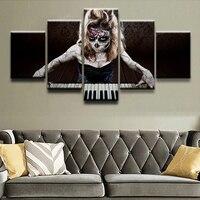Modular Canvas Art Tường Ảnh Trang Trí Nội Thất Ảnh 5 Bảng Điều Chỉnh in Nghệ Thuật Đường Skull Playing the Piano Poster Hiện Đại Dầu sơn