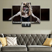 Modular Canvas Art Wall Picture Home Decor Photo 5 Panel Print Artistic Sugar Skull Playing the Piano Poster Modern Oil Painting