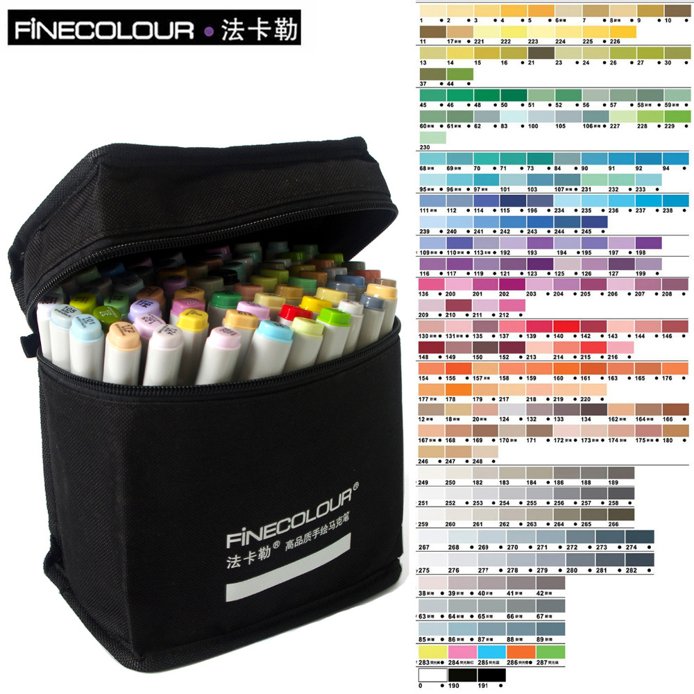 FINECOLOUR Marker Artist Double Headed Sketch Marker Set 36 48 Colors Alcohol Based Manga Art Markers for Design Supplies