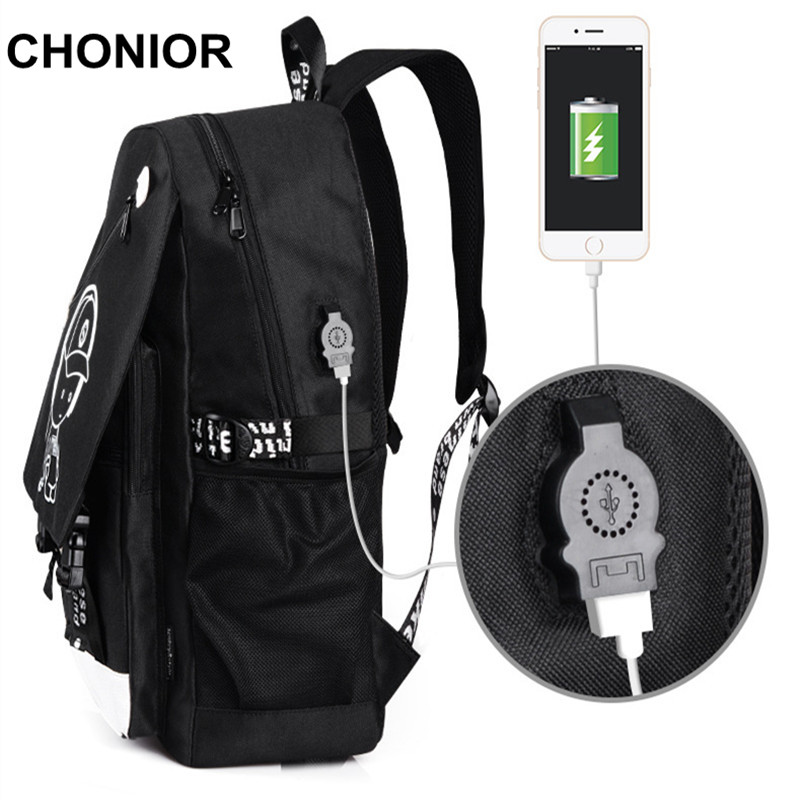 High Quality Backpack usb Luminous School Bags One Piece Monster Printing Anti-theft Anime Canvas Backpacks Unisex Rucksacks high quality anime death note luminous printing backpack mochila canvas school women bags fashion backpacks for teenage girls
