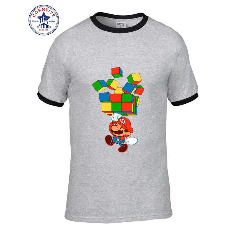 Hot di Alta Qualità di Modo del Cotone Del Fumetto di Super Mario Rubik Cube T Shirt di Cotone per gli uomini