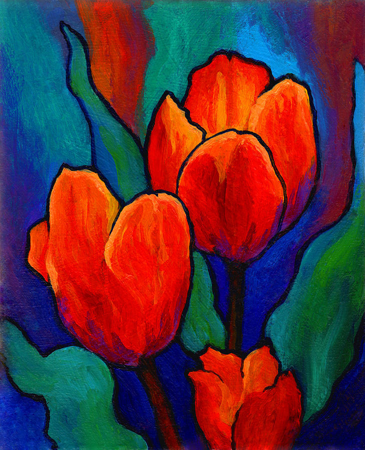 flower paintings online art gallery Tulip Trio modern art abstract ...