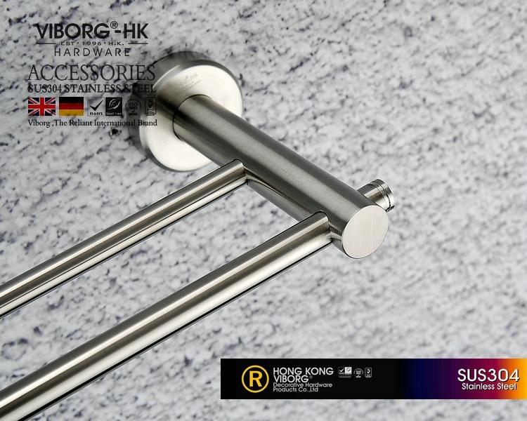 Viborg Deluxe Sus304 Stainless Steel 60cm Bathroom Double Towel Bar Holder Hanger, Brushed, Xs-602 оперативная память foxline fl1600d3u11s2 2g