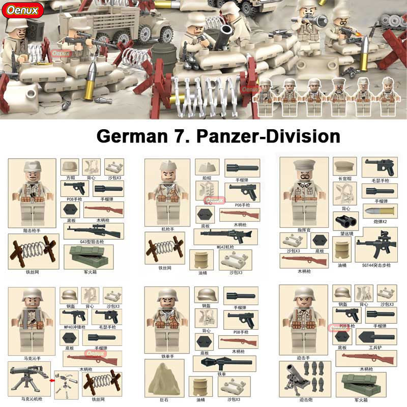 Oenux 6PCS WW2 German 7th Panzer Division Military Figure Building Block Set North Campaign Tunisia Campaign War Scene Brick Toy 548pcs military ww2 german panzer iii tank ausfl primary battle tank model building block assembly toy for kid christmans gift