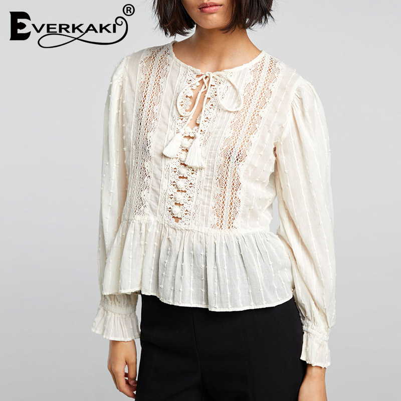 Everkaki Hollow Out Boho Women White   Blouse     Shirts   Flare Long Sleeve Neck Tied Tassel Bohemian Women Tops   Blouse   2019 Autumn New