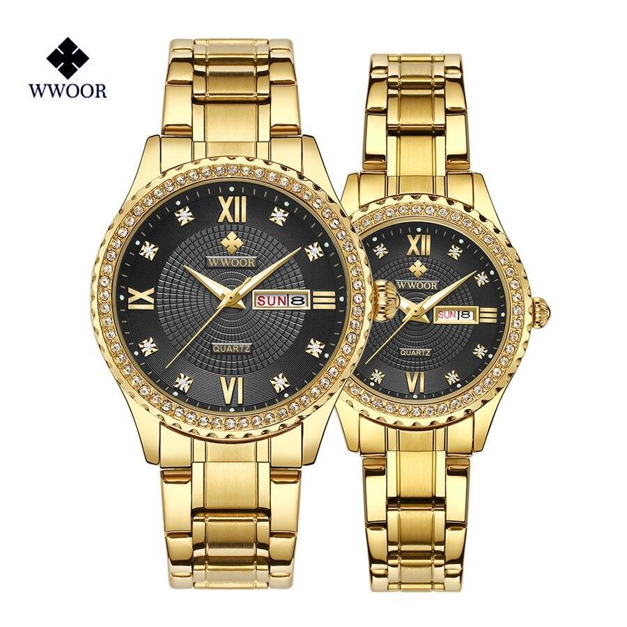 WWOOR Couple Watch 2019 Mens Watches Top Brand Luxury Quartz Women Clock Ladies Dress Wristwatch Fashion Casual Lovers Watch