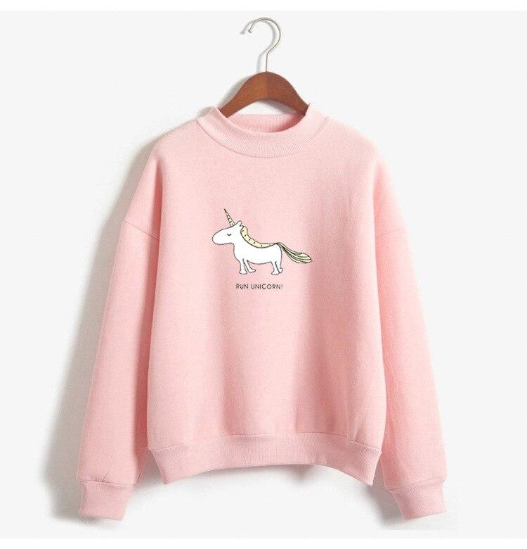 cartoon women sweatshirts pullover O-neck hoodies 2018 winter casual long sleeve female sweatshirt high quality pink clothes