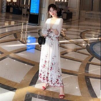 a17fc880b0998a3 Женское платье с вышивкой вишневого цвета сакуры; шелковое платье до  середины икры с вышивкой и цветами в горошек
