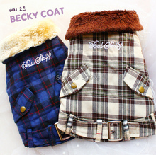 Free shipping Scottish tartan Faux fur collar cashmere lining dog coat jacket pet parka clothes