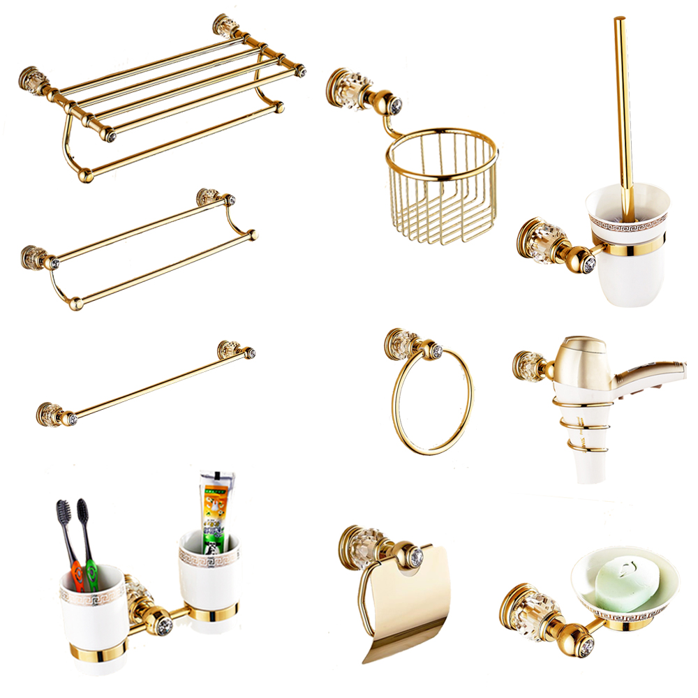 European Gold Bathroom Hardware Set Antique Crystal Bathroom Accessories Wall Mounted Polish Finish Brass Bathroom Products