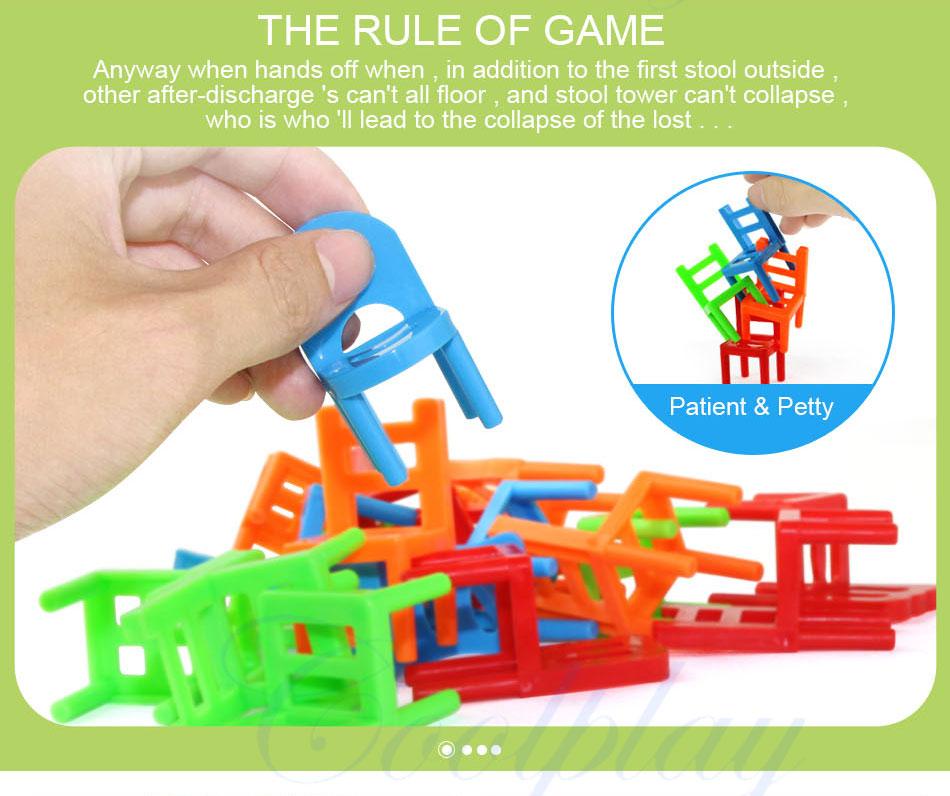 18 шт./компл. мини укладка стулья игры блок баланс игрушка родителей забавные интерактивные игры малыш образования игрушки вызов)