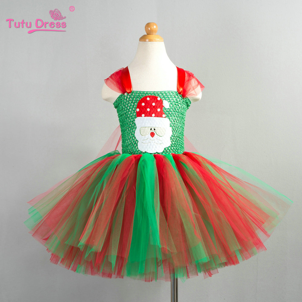 aa64136ec30f Christmas Tutu Dress Red green Tutu Dress Baby Girl Christmas Outfit Santa  Claus Patch Cartoon Tulle Dress