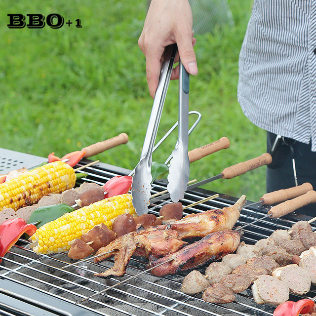 9/12in Grill BBQ Tong Silicone Cover Handle Kitchen Tongs Locked ...