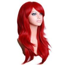 QQXCAIW длинные волнистые косплей парик красный зеленый фиолетовый розовый черный синий серебристый серый Блондин Коричневый 70 см синтетические волосы парики