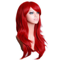 QQXCAIW Long Wavy Cosplay Wig Red Green Purple Pink Black Blue Sliver Gray Blonde Brown 70 Cm Synthetic Hair Wigs
