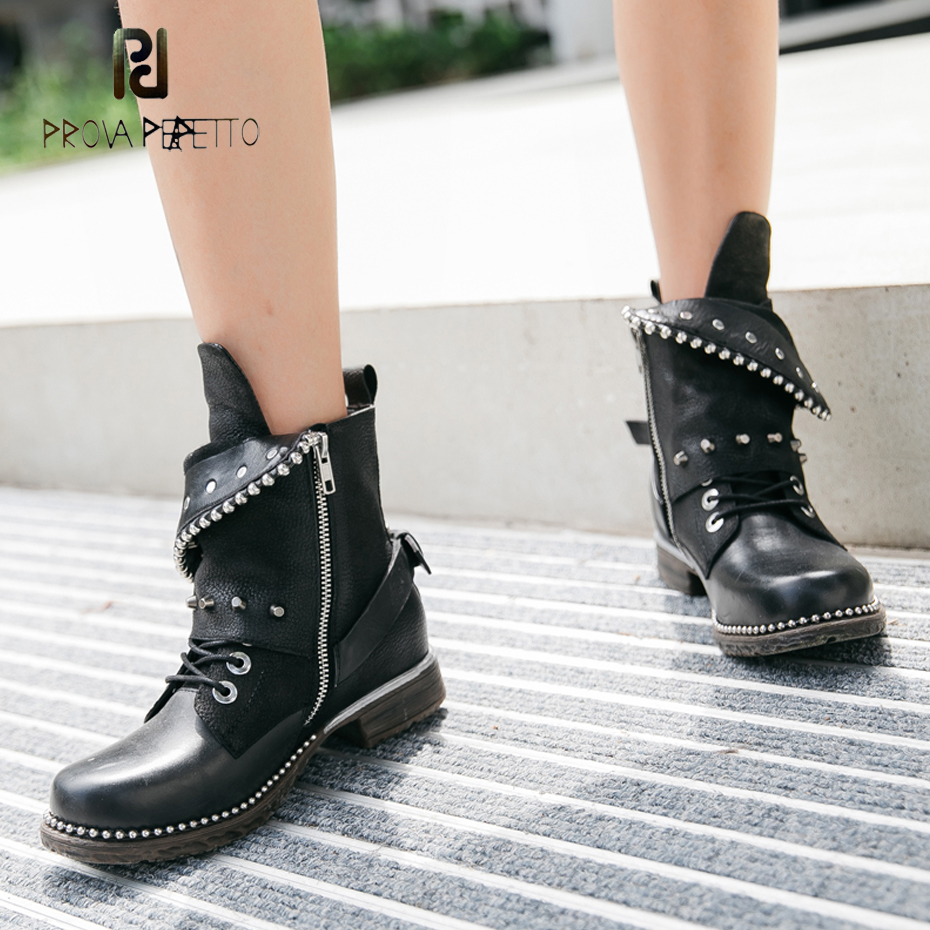 Prova Perfetto 2018 new rivet genuine leather martin boot women metal beading sole round toe platform