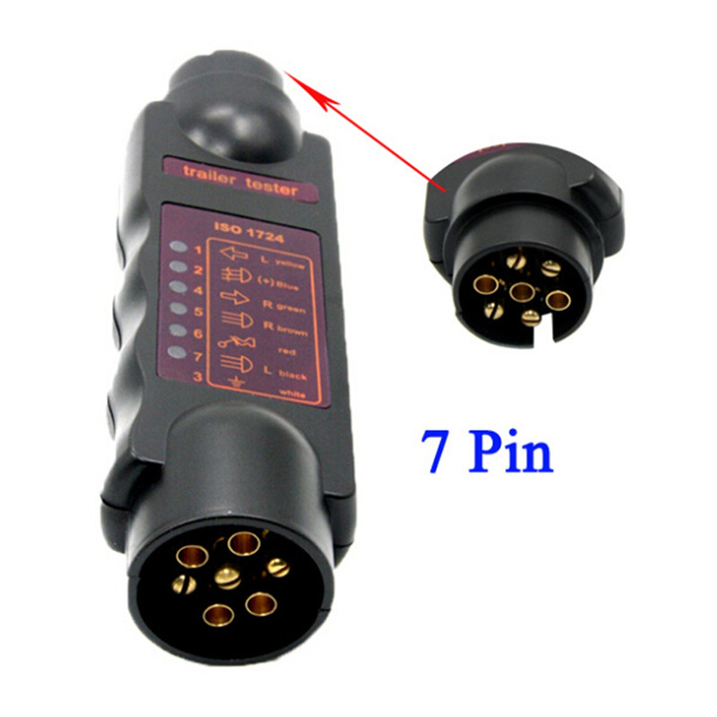 Vehicle 7Pin Trailer Towing Light Cable Circuit Plug Socket Tester ...