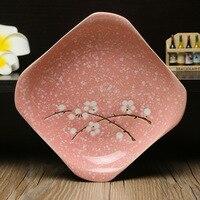 2 unidades de Estilo Japonés 7 pulgadas ciruela vajilla de cerámica pintado a mano/colores Bajo Vidriado de cerámica plato de sopa/Home Hotel platos
