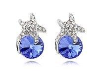 Österreichischen Blauen Kristall Ohrringe Marke Starfish & Runden Geformten Stein Ohrstecker Ohrring Partei Maskerade Schmuck EEH0050