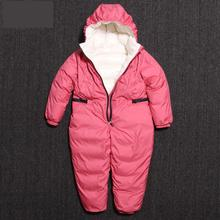 2018 New Baby Winter 90% White Duck Down Snowsuit 2-6y Children Warm Hoodie Rompers Baby Boys Out Wear Jumpsuit Girl Down Jacket