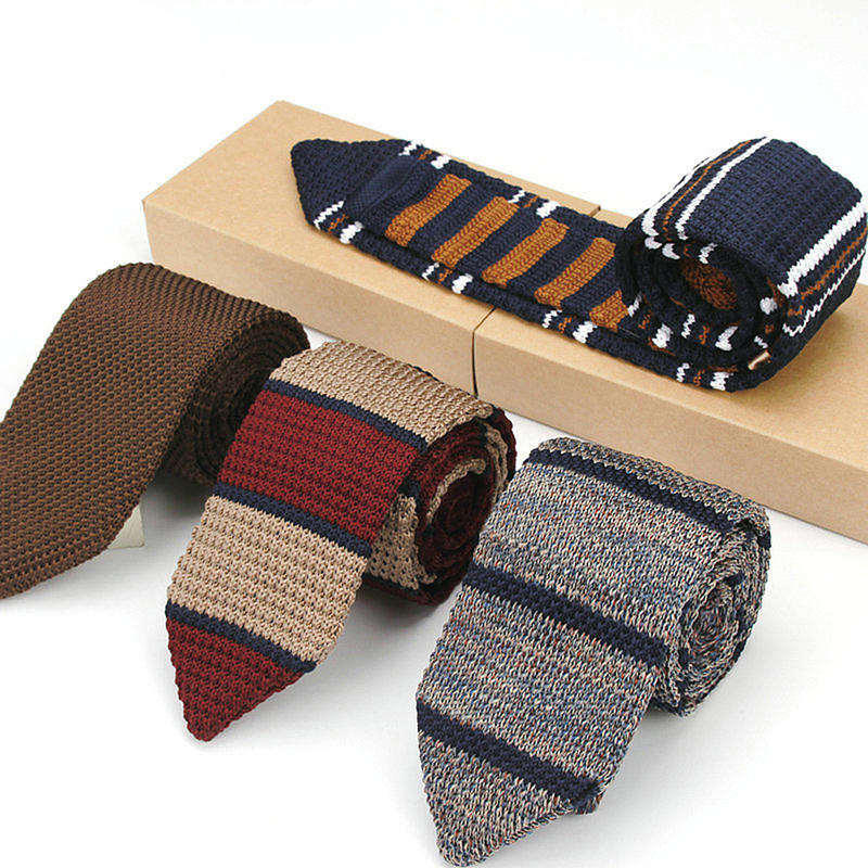 Vintage Striped Classical Knit Tie Skinny Knitted Necktie Narrow Slim Knitting Neck Ties For Man Party Accessories