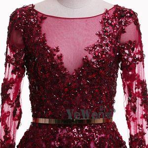Image 4 - יען נוצות Burgudy זהב ארוך שרוולים V צוואר נצנצים כלה שמלות הערב 2020 Vestidos דה Novia