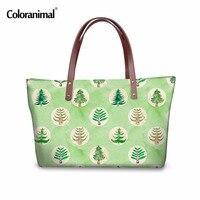 Coloranimal Berühmte Design Damen Große Kapazität Handtaschen Niedlichen Cartoon Baum Schuhe Gedruckt Umhängetasche Reise Shoping Umhängetaschen