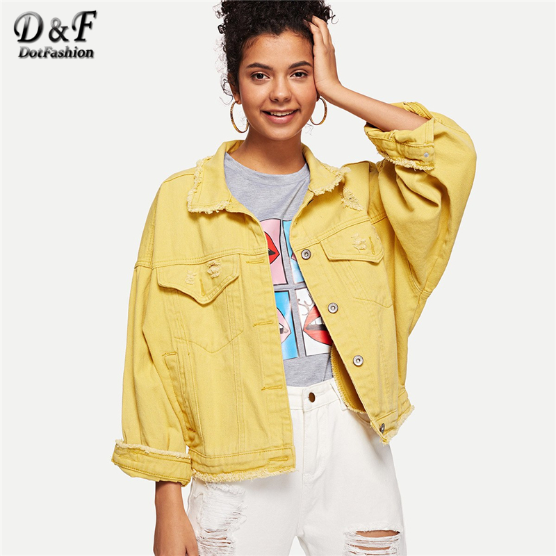 Dotfashion Yellow Solid Ripped Button Front Denim Jacket Women Casual 2019 Autumn Turn-  down   Collar Clothing Spring Plain   Coat