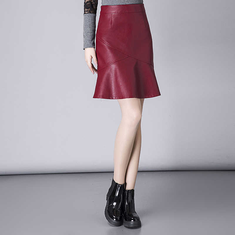 6eed8c9fb0b18 Detail Feedback Questions about 2018 High Waist PU Leather Skirt ...