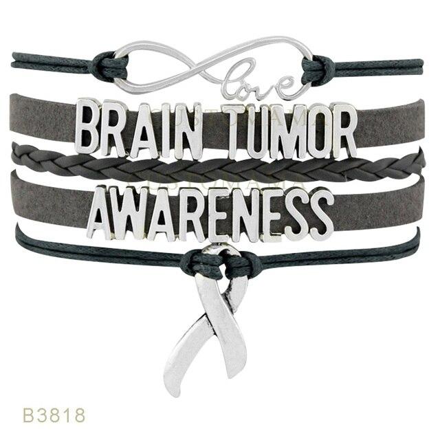 10 Pcs Lot Infinity Love Brain Tumor Awareness Ribbon Charm Bracelets For Women
