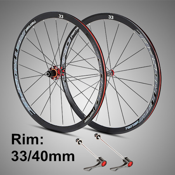 RS Ultra-light 700C Wheels Carbon Fiber Hub  4 Sealed Bearings Aluminum Alloy 33/40mm Rims Colorful Decal Road Bike Wheel Set