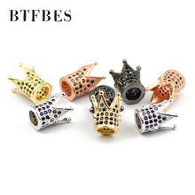 BTFBES Hight Quality 8mm Crown Copper Beads 4pcs Black Zircon Micro Pave Charms Loose Bead Jewelry bracelet making DIY Necklace(China)