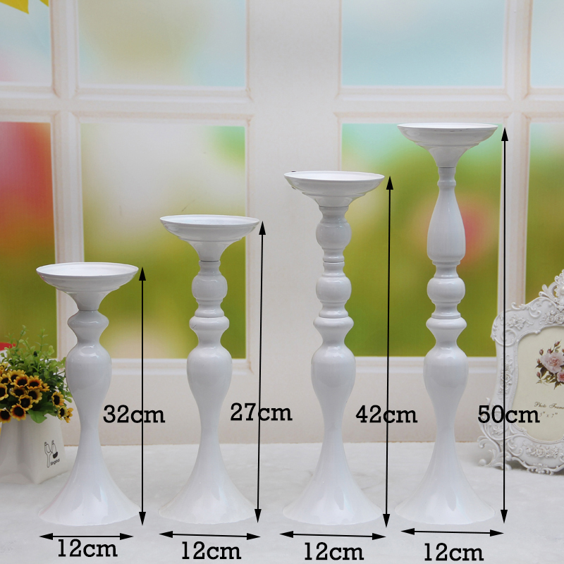 PEANDIM 10PCS/LOT White Metal Candle Holder Candle Stand Romantic Ideas for Wedding Centerpiece Road Lead Flower Vase Holder