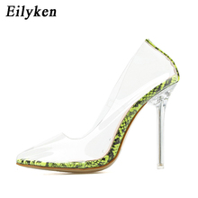 Eilyken 2020 New Arrival PVC Transparent Serpentine Green Crystal Women Pumps Stilettos High Pointed Toe Sexy Night club