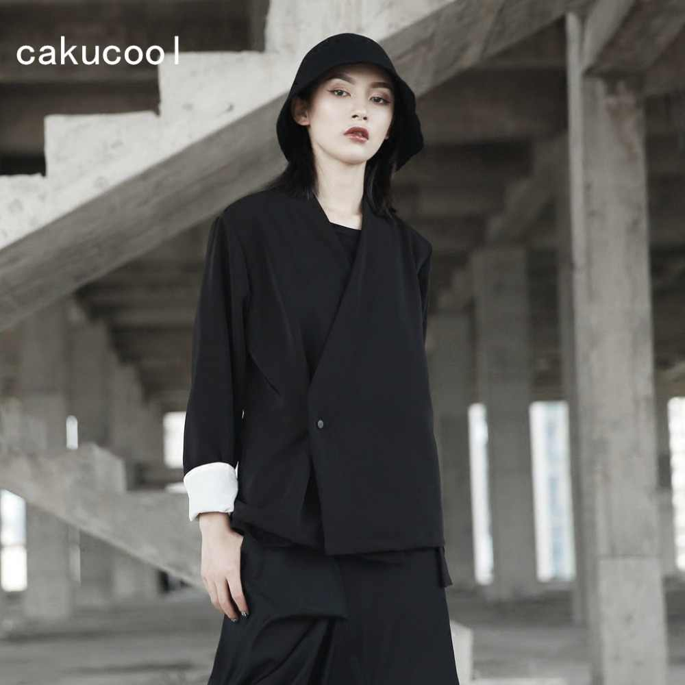 Cakucool New Autumn Jacket Women Kimono Japanese Designer V neck Black Coat  Slim Chic Novelty Jaqueta 4e11572cba79