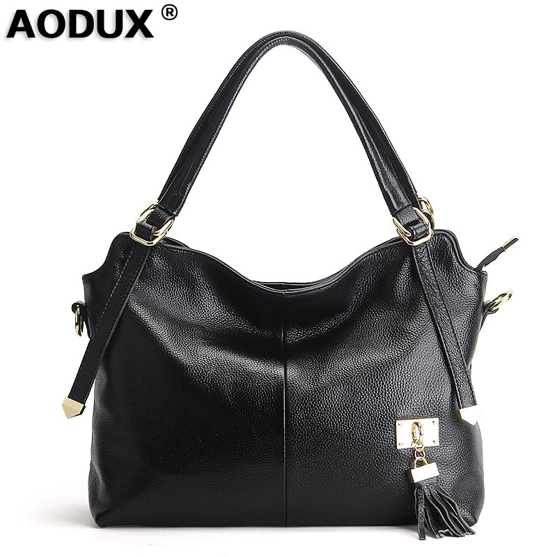 AODUX Hot Sale Famous Brand 100% Genuine Leather Women Handbags Shoulder Bags Crossbody Messenger Tote Bag Designer Satchel hot sale 2016 france popular top handle bags women shoulder bags famous brand new stone handbags champagne silver hobo bag b075