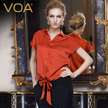 VOA Solid Color Silk Short Sleeve Women Shirt 2017 Summer Bright Red Bow Blouse B1010