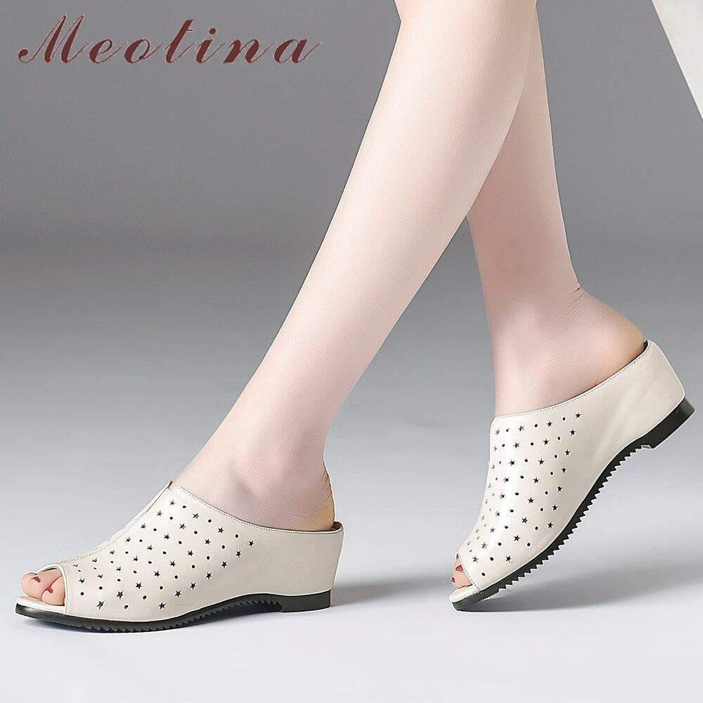 Meotina 여성 신발 여름 슬리퍼 자연 정품 가죽 웨지 뒤꿈치 신발 암소 가죽 들여다 발가락 슬라이드 숙녀 샌들 크기 41-에서슬리퍼부터 신발 의  그룹 1