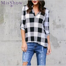 Plus Size 5XL Stand Neck Long Sleeve Grid Women Blouse Plaid Shirts Vintage Women Tops and Blouses Loose Lattice Blusa Feminina