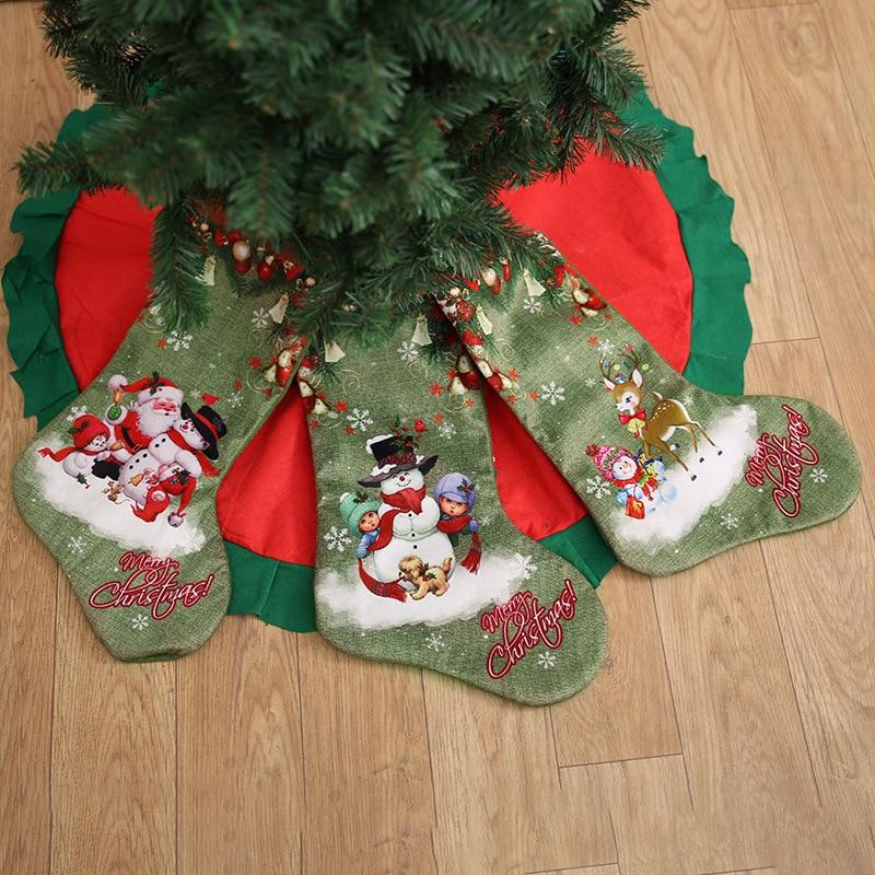 Christmas Stocking Santa Claus Sock Gift Candy Bag Xmas Noel ...