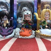 лучшая цена Naruto Shippuden Tsunade Orochimaru Jiraiya Q version Gama Bunta PVC Action Figure