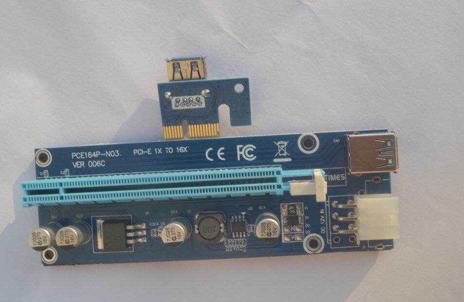 10 Satz Blau Ver006c 60 Cm Pci-e Riser Pcie 1x Zu 16x Extender + Usb 3.0 Kabel/6pin Molex-stromkabel Für Btc Ltc Eth Miner Bequem Zu Kochen