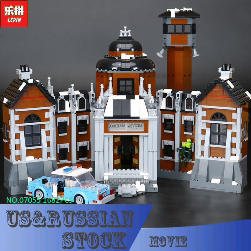 Lepin 07055  Compatible Legoe Batman 70912 1628pcs Super Heroes Movie Blocks Arkham Asylum Toys for Children Building Blocks decool 7118 batman chariot super heroes of justice building block 518pcs diy educational toys for children compatible legoe