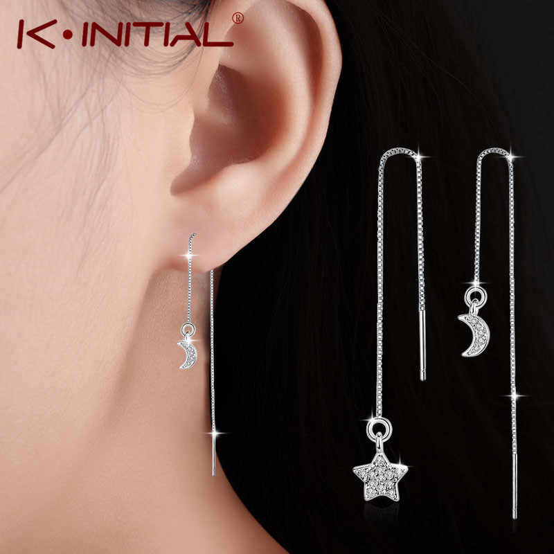Kinitial Fashion Crystal Asymmetric Drop Earrings for Women Wedding Cute Star Moon Long Tassel Dangle Earring Statement Jewelry