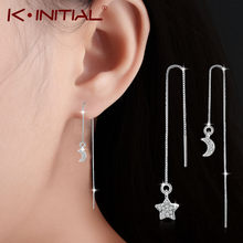 Kinitial Fashion Crystal Asymmetric Drop Earrings for Women Wedding Cute Star Moon Long Tassel Dangle Earring Statement Jewelry(China)