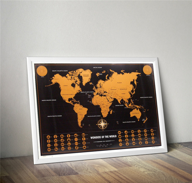 Gold World Map Poster.Personalized Black Gold World Scratched Map Vintage Travel Map