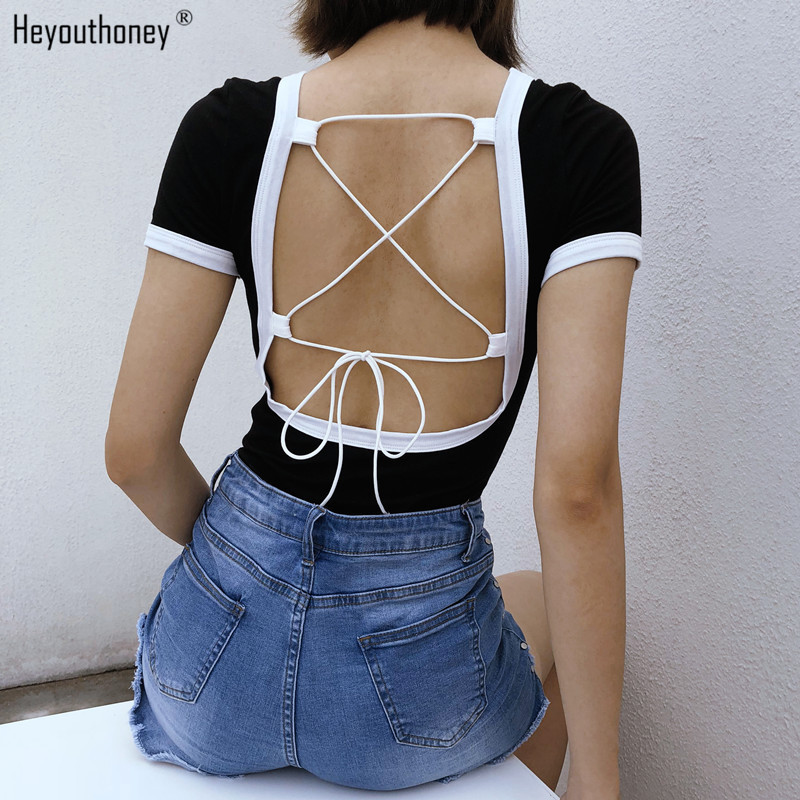 Heyouthoney summer cotton letter print o-neck short sleeve color block backless cross lace up bandage women bodycon bodysuits