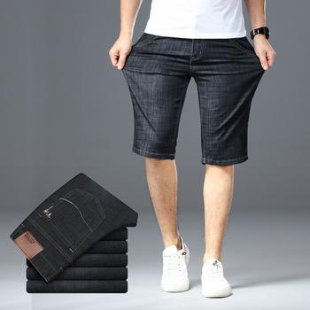 Duży rozmiar 40 42 44 46 męskie spodenki jeansowe 2019 lato nowy moda biznes elastyczna szczupła krótki dla dżinsy męskie ubrania marki tanie i dobre opinie Szorty Na co dzień COTTON Poliester spandex Zipper fly REGULAR Kolano długość 3038F35 Stałe Haft Brother Wang Black dark blue Light blue