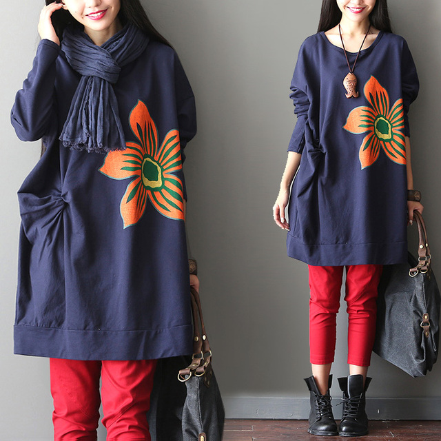 Big flower patchwork plus size outerwear pumping batwing sleeve sweatshirt